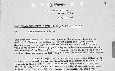 Memorandum for Secretary of State concerning the President's review of the Vietnam Task Force report and his suggestions.