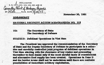 Typed memo authorizing the use of defoliant in Vietnam.