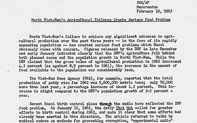 Text of a letter detailing agricultural issues in North Vietnam
