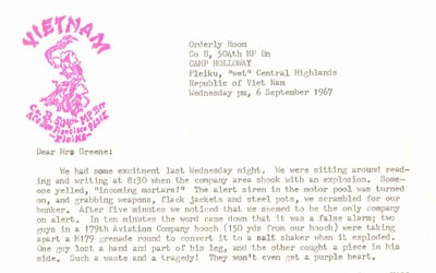 Letter sent to a colleague from a soldier in Vietnam.