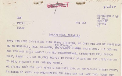Operational Priority Communication from Strategic Services Officer Archimedes Patti, September 2, 1945