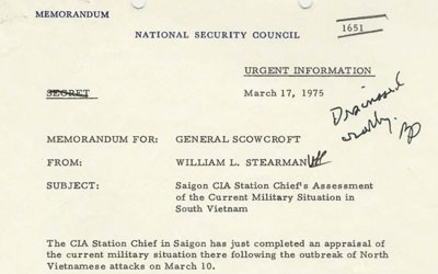 Memo written to by the CIA Chief in Saigon giving an overview of the situation in Vietnam.