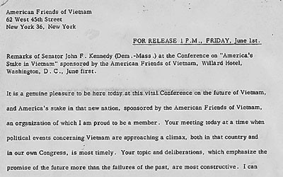 Typed speech given by then Senator John F.  Kennedy prior to his election regarding Vietnam.
