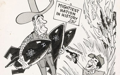 The political cartoon is a black and white image of LBJ and a Vietnamese soldier.