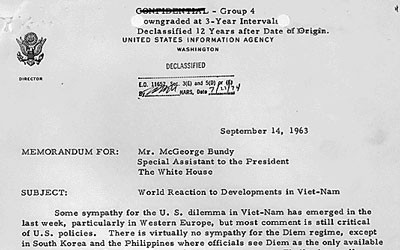 The letter outlines disapproval around the world for the Diem regime.