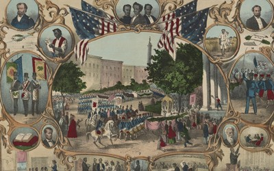 Print shows a parade surrounded by portraits and vignettes of Black life, illustrating rights granted by the 15th amendment.