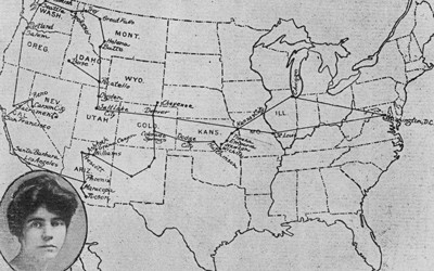 """Map of the United States showing tour of Congressional Union for Woman Suffrage. Image of Alice Paul in lower left-hand corner. Captioned """"Call to Women Voters to Assemble in Chicago June 5, 6, 7 to Launch A National Woman's Party.""""  Route shows many stops along a multi-state tour.  The majority of the stops are in the states in the West."""