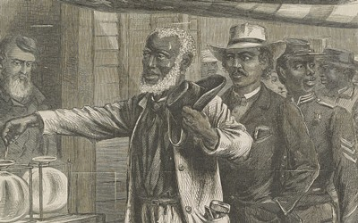 This iconic drawing done by A.R. Waud and published in Harper's Weekly, shows African American men, in dress indicative of their professions, in a queue waiting their turn to vote.  An American flag hangs as a ceiling over the mens' heads.  A white election official looks on as the first man drops his vote into the container.