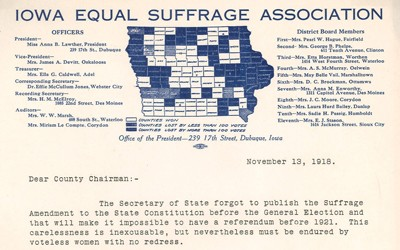 In a letter to County Chairman, Anna Lawther states that the Secretary of State forgot to publish the suffrage amendment in newspapers prior to the June 5th election which led to the amendment's defeat.