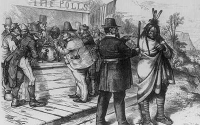 """In this political cartoon appearing in Harpers Weekly on April 22, 1871, a policeman is seen ordering a Native man to """"move on"""" away from a voting polls around which are clustered stereotyped """"naturalized"""" Americans."""