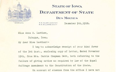 Iowa Secretary of State W. S. Allen writes to Miss Anna Lawther to apologize for not publishing the proposed suffrage amendment