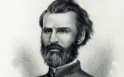 Pencil or charcoal drawn bust portrait of Governor William M. Stone.  Stone appears formal and intense, dressed in uniform, with full beard and wavy hair.
