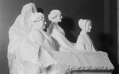 This monument features prominent leaders of the women's suffrage movement.