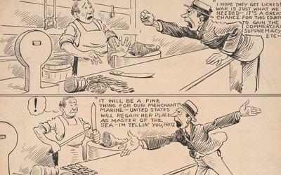 The source is a  three framed political cartoon about the economic impact of involvement in World War I.