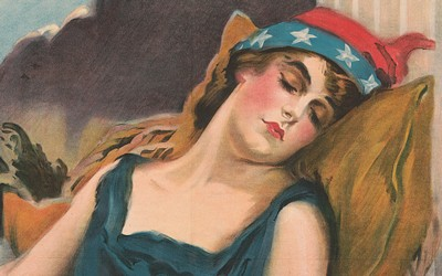 Poster showing a woman symbolizing America sleeping.