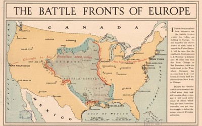 A map with the Europe transposed over a map of the United States.