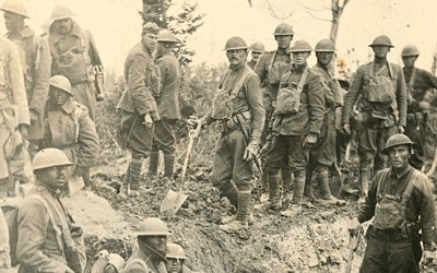 American soldiers in a trench during World War I.