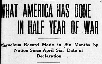 News article that appeared in a Keokuk, IA newspaper about the preparedness of the United States in World War I.