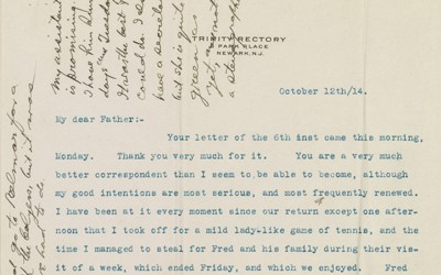 The source is a letter sent from Mercer Green Johnston to his father expressing anti-German sentiment in 1914.