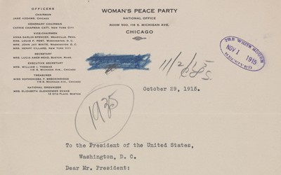 The source is a letter sent from Members of the Women's Peace Party to President Wilson outlining the organization's stance of the United States involvement in world affairs.