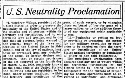 The article above was a transcription of the US Neutrality Proclamation that ran in an issue of the Ottumwa Tri-Weekly Courier.