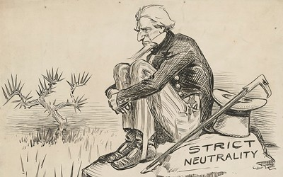 The source is a political cartoon with a message about America's stance on neutrality.