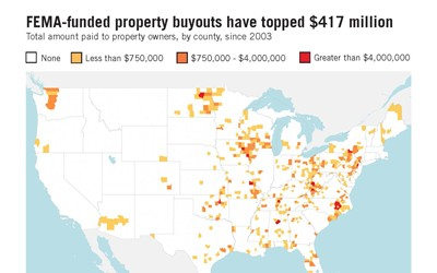 FEMA buyout information, analyzed and published by NPR in 2014, detailing the amount of money spend by FEMA since 2003 and the 10 largest buyouts in United States History, where Iowa is number 2 with nearly $37 million dollars in 2008.