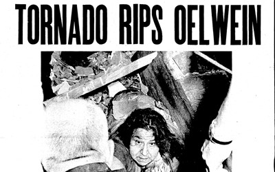 Oelwein Daily Register story written by Mike Mahoney on May 16th, 1968, that describes the destructive F-5 tornado that ravaged Oelwein, Charles City, and Maynard, Iowa.  The tornado killed 4 in Oelwein and caused an estimated $10-30 million dollars of damage.