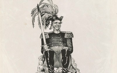 This 1848 political cartoon depicts the Whig Party candidate for president (either Zachary Taylor or Winfield Scott) seated atop a pile of skulls while holding a bloodied sword.