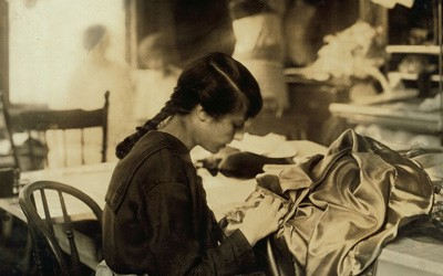 Dressmaker Angelina Guinzali in Boston, Massachusetts, January 25, 1917