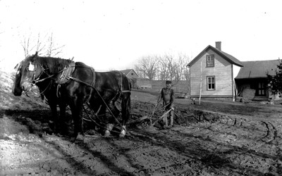 Wooden farmhouse seen in background.  Man walking behind single-row plow seen with team of draft horses on a plowed field in foreground.