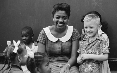 Teacher and Students at Wheatly Elementary School, September 16, 1957