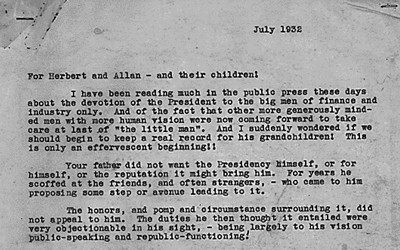 A letter written by President Hoover's wife, Lou Henry, discussing his career in public service during his campaign in 1932.