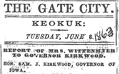 A letter written by Annie Wittenmyer (and published in the Keokuk Weekly Gate City in 1863) to Governor Kirkwood outlining her efforts and the needs that still remain in caring for Iowa's Civil War casualties, and his response to the needs, calling other Iowans to help.