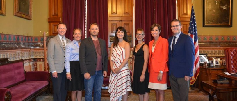 Iowa Arts Council 2017 Fellows Ceremony: Iowa Arts Council Administrator Matt Harris, Iowa Department of Cultural Affairs Director Mary Cownie, 2017 Iowa Artist Fellows Jack Meggers, Rachel Yoder and Lee Running, Gov. Kim Reynolds and Lt. Gov. Adam Gregg. Not pictured: 2017 Iowa Artist Fellows Jennifer Drinkwater and River Breitbach.