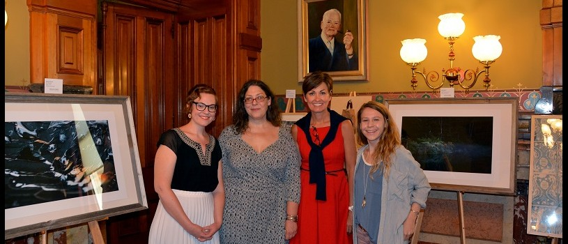 Iowa Womens Artists: Gov. Kim Reynolds welcomed Iowa artists (l-r) Emily Jalinsky of Iowa City, Angela Altenhofen of Chariton and Karla Conrad of Des Moines to her formal office where their works are on display in the Iowa Women's Art Exhibit.