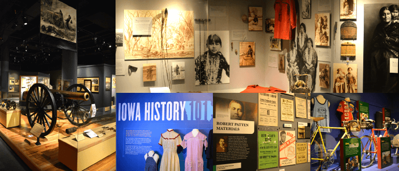 Images from exhibits in State Historical Museum of Iowa