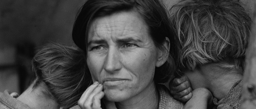 Migrant Mother portrait taken by Dorothea Lange during the Great Depression