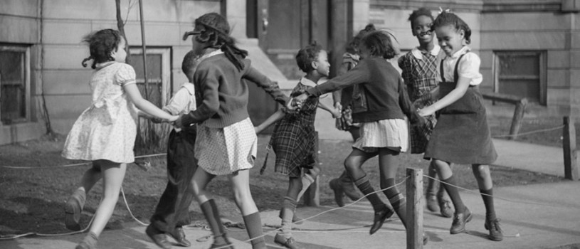 "Children Play ""Ring Around the Rosie"" in Chicago, Illinois"