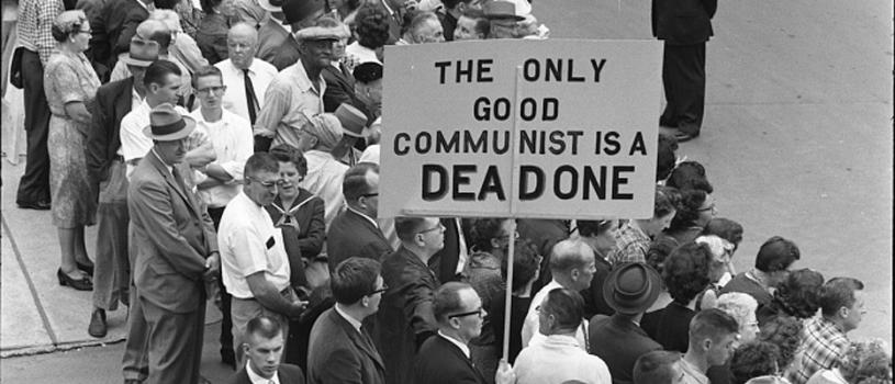 A protest sign in Des Moines, Iowa, during the visit of Soviet Premier Nikita Khrushchev.