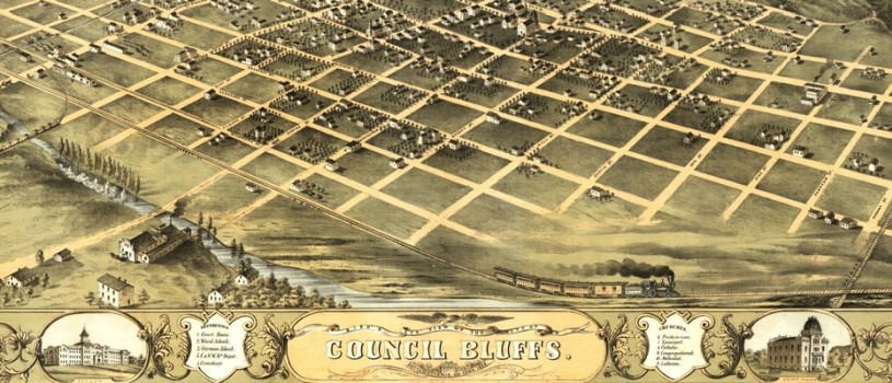 An illustrated map of Council Bluffs in 1868, showing the layout of the city along the Mosquito River down to the Missouri River and including the railroad lines running through the city, east to west as well as south.
