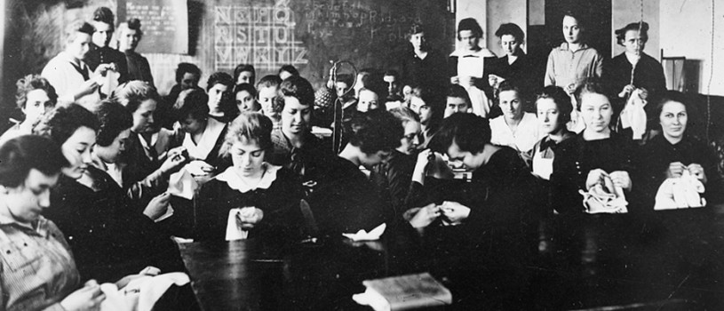 Sewing Class for Refugee Students in Mt. Ayr, Iowa, 1918