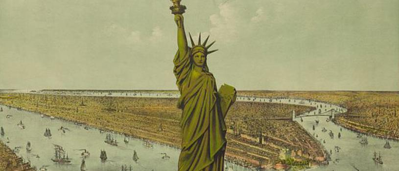 The great Bartholdi statue, liberty enlightening the world: the gift of France to the American people.