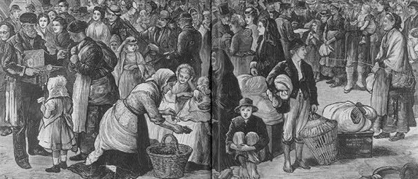 The Harper's Weekly engraving depicts people of all social classes immigrating from Ireland in 1874, after the infamous potato famine.