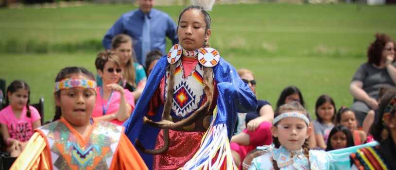 Meskwaki children performing at the annual powwow