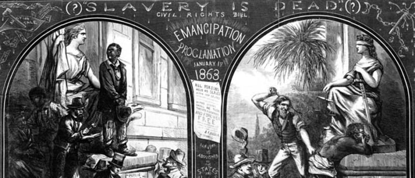 Two illustrations showing: Slave being sold as punishment for crime, before Emancipation Proclamation; and African-American being whipped as punishment for crime in 1866.