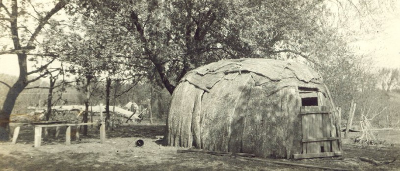 Meskwaki Wickiup photo from a scrapbook