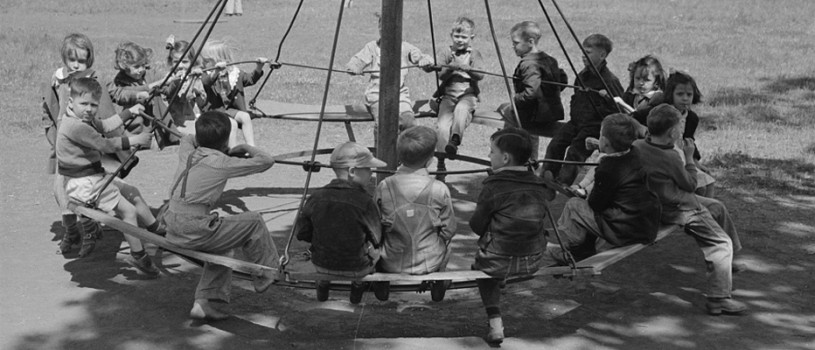 Schoolchildren on Circular Swing in San Augustine, Texas, April 1939