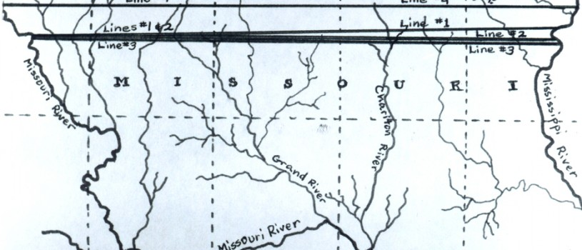 Map prepared by Vicki Carver (1969) showing disputed Iowa-Missouri boundary lines.