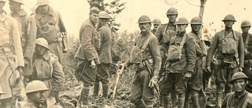 American soldiers approaching Argonne Forest in France during WWI